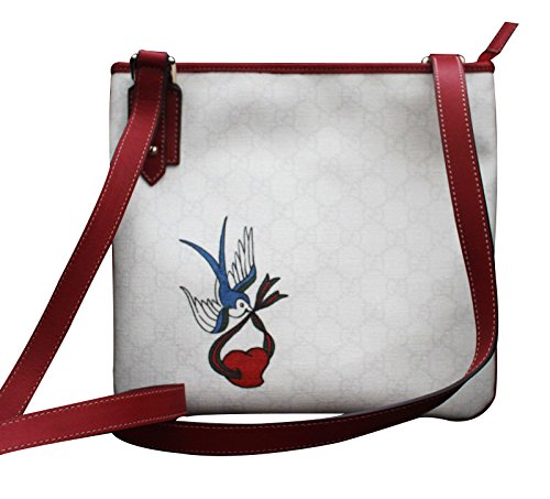 Gucci Cross Body Messenger Bag Handbag with Heart Bird Tatto 239347