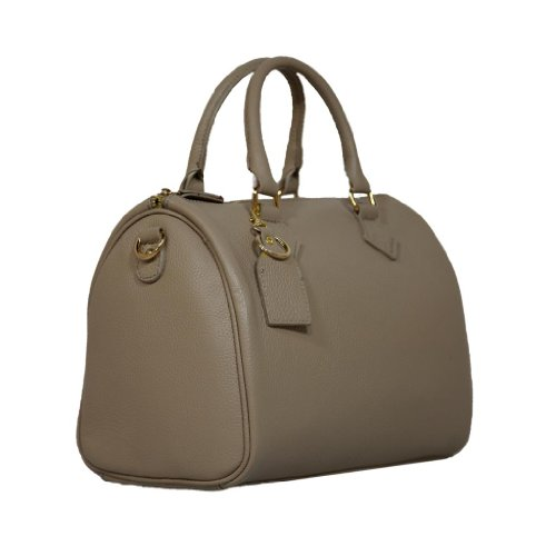 HS 5176 TP LUNA Made in Italy Leather Taupe Speedy Satchel/Shoulder Bag