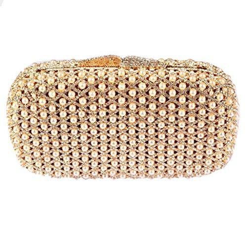 Abless Elegant Charm Shiny Rhinestone Pearl Bridal Banquet Glamour Evening Handbag #2