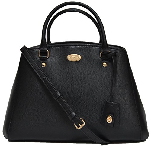 Coach Leather Saddle Margot Carryall Shoulder Bag Black, F34607
