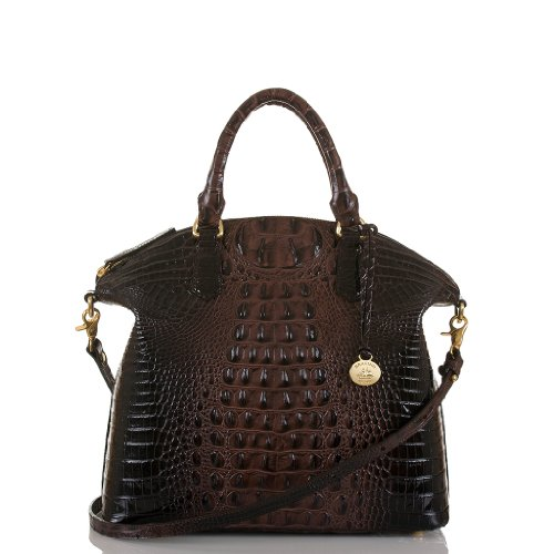 NEW AUTHENTIC BRAHMIN LARGE DUXBURY EXOTIC CROC LEATHER CARRYALL SATCHEL (Cocoa Melbourne)