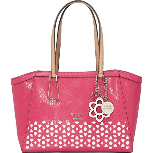 GUESS Women's Bianco Nero Laser-Cut Uptown Carryall