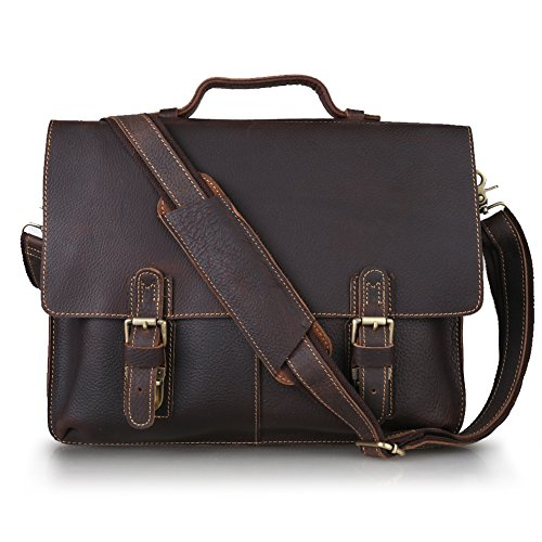 Kattee Twin Buckle Leather Messenger Bag Dark Brown