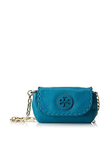 Tory Burch Marion Cross-body Clutch in Electric Eel Blue Pebbled Leather