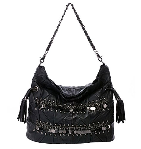 Heshe New Soft Girls Luxury Genuine Leather Stylish Creations Sheepskin Fashion Punk Vintage Sequins Rivets Link-chain Shoulder Crossbody Bag Collection Messenger Bag Purse Women's Handbag