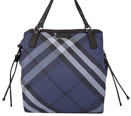 Burberry Women's Blue Nova Check Packable Purse Shopper O/S
