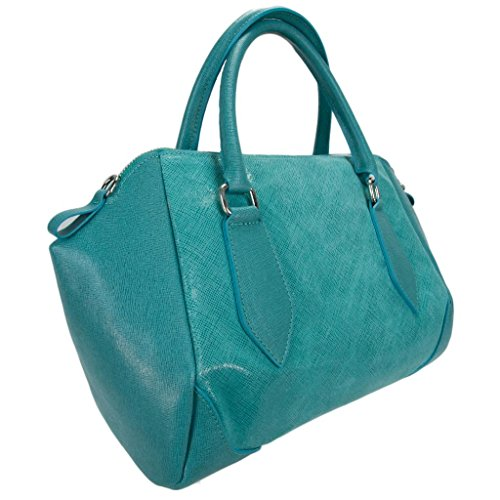 H&S Collection 5198-56 TQ SASHA Made in Italy Turquoise Structured Leather Sacthel/ Shoulder Bag