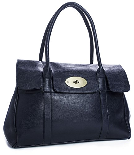 Big Handbag Shop Womens Faux Leather Designer Boutique Turnlock Shoulder Bag