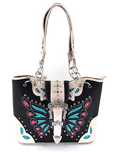 FR Collection Concealed Carry Handgun Western Black Butterfly Satchel Handbag Purse