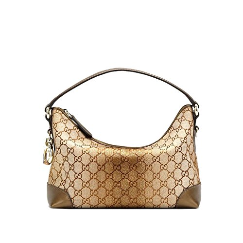 Gucci Canvas Gold and Brown Hart-bit Hobo Bag 269959