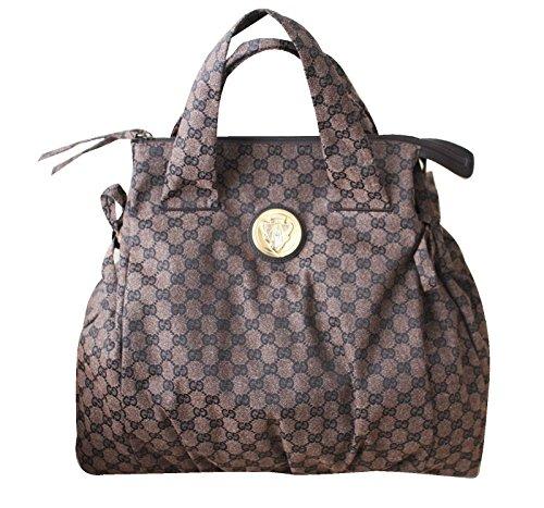 Gucci Brown Canvas Handbag Hysteria Top Handle Bag 286305 8370