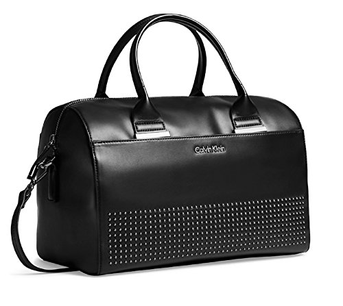 Calvin Klein Claire City Sleek Barrel Satchel Bag Handbag (Black)