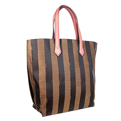 Fendi Pequin Brown Striped and Terracotta Tote Bag