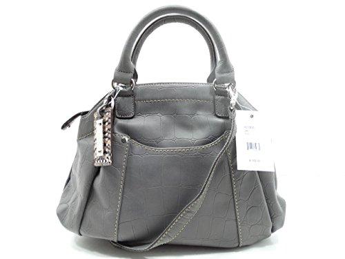 Tignanello Satchel Croco Embossed Leather Grey Color