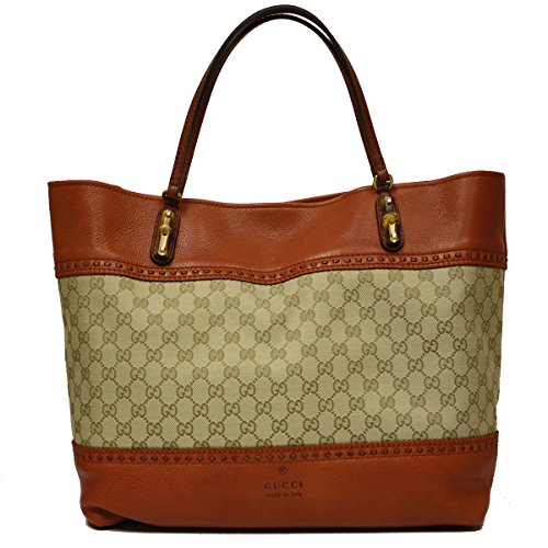 Gucci Laidback Crafty Original Canvas and Orange Leather Bamboo Tote Bag 339000