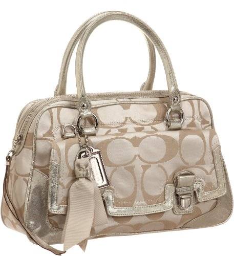 Coach 18358 Poppy Signature Sateen Pushlock Satchel Light Khaki
