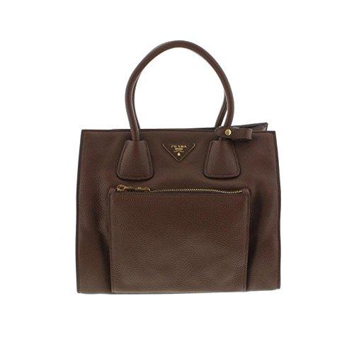 Prada Womens Leather Double Handle Tote Handbag