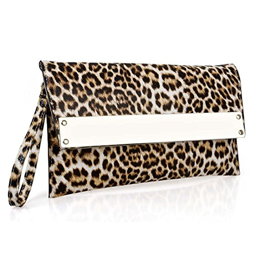 BMC Womens Ultra Thin Faux Leather Mixed Design Animal Print Clutch Handbag