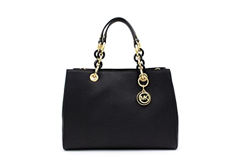 Michael Kors Cynthia Black Medium Saffiano Leather Satchel