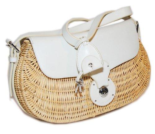 Ralph Lauren Purple Label Wicker Leather Handbag Purse White Natural Ecru Italy