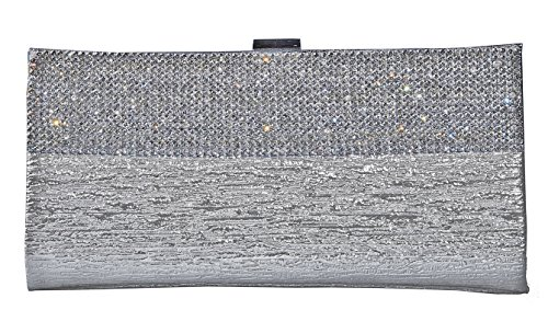George Versailles Crystal Clutch Baguette Bag Purse Women Evening Handbag with Detachable Chain