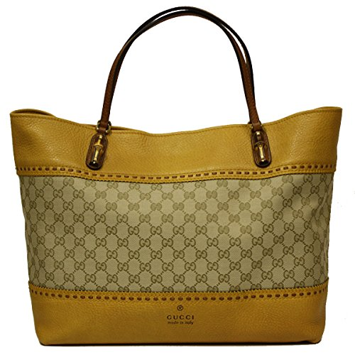 Gucci Laidback Crafty Original Canvas and Yellow Leather Bamboo Tote Bag 339000