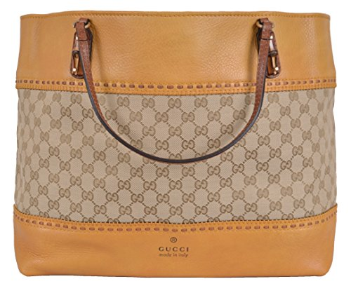 Gucci Women's Yellow Laidback Crafty GG Guccissima Bamboo Handbag