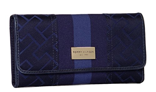 Tommy Hilfiger Women's Continental Checkbook Wallet, Navy Lg Logo's
