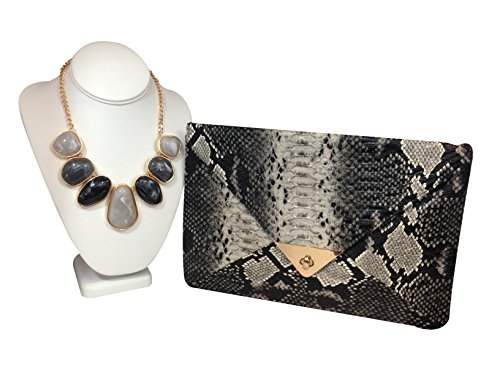 Snakeskin Clutch with Free Matching Stone Necklace!