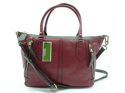 Oryany Dana Diamond Satchel Bag Italian Leather Burgundy Multi