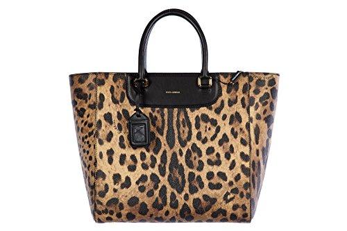 DOLCE&GABBANA women's leather handbag shopping bag purse brown