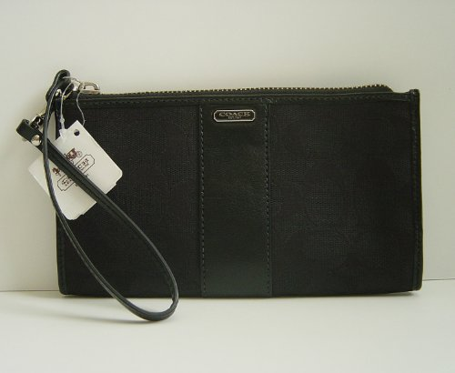 Coach Signature Zippy Wallet Wristlet Black 48691