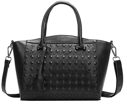 Heshe New Office Lady Genuine Leather Luxury Fashion Rivets Tote Top Handle Crossbody Shoulder Satchel Purse Women's Handbag