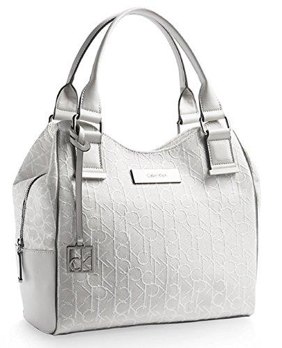 Calvin Klein Candice Logo Jacquard Lurex Handbag Satchel Purse Tote Bag (Ice Grey)