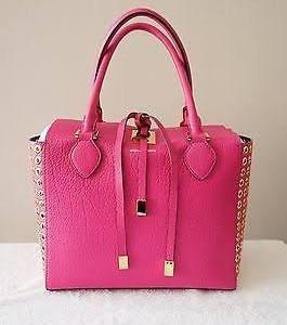 Michael Kors Collection Fuschia Leather Grommet and Silver Miranda Bag Handbag NEW