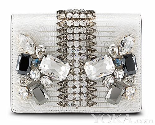 MCM Romantic Chandelier Clutch White Swarovski Leather Bag New