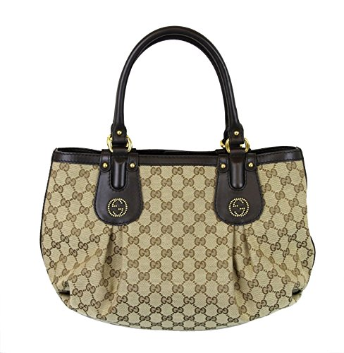 Gucci Beige Canvas Studded Interlocking G Scarlett Handbag 269953 9739