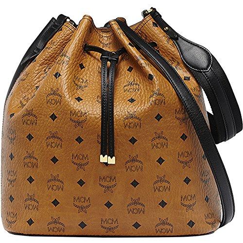 2014 AW MCM MATCH Women's Medium Drawstring Shoulder Bag Cognac Black MWD4AMT01CB