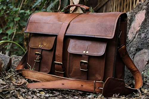 handolederco. 18″ Inches Classic Adult Unisex Cross Shoulder 100% Genuine Leather Messenger Laptop Briefcase Bag Satchel Brown