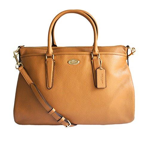 Coach 35185 Pebble Leather Morgan Satchel Handbag Tote Light Saddle Tan