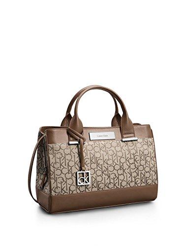 Calvin Klein Logo Jacquard City Center Zip Carryall Satchel Handbag Natural