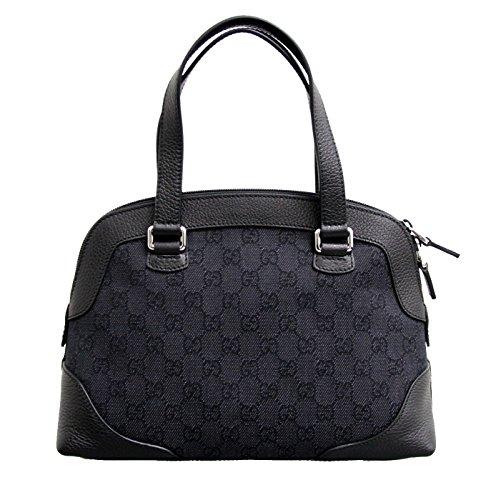 Gucci Black Canvas Tote Top Handle Bag Leather Trim Handbag 272378