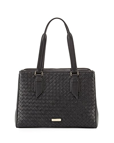 Cole Haan Junia Woven Leather Triple Entry Shopper Handbag, Black, One Size