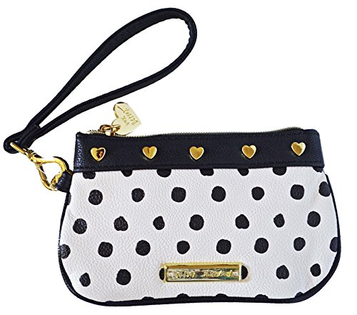 Betsey Johnson Logo Wristlet Purse Hand Bag Spot Polka Dot Black Bone Ivory