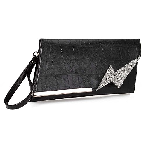 BMC Womens PU Leather Double Pocket Rhinestone Lightning Bolt Fashion Clutch