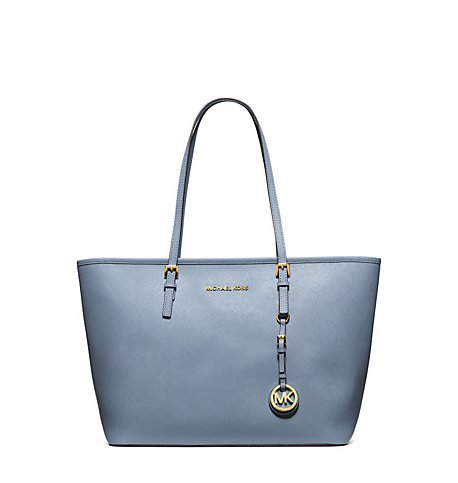 MICHAEL KORS Jet Set Travel Saffiano Leather Top-Zip Tote PALE BLUE
