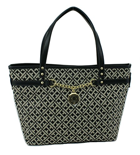 Tommy Hilfiger Chain Shopper Handbag Black Multi