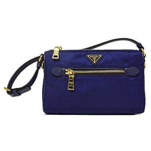 Prada BN1834 Royal Blue Tessuto Saffian Sacca Nylon and Leather Small Shoulder Bag