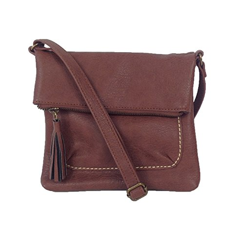 Lucky Brand Del Rey Mini N/S Fold-over Crossbody, Dark Brown