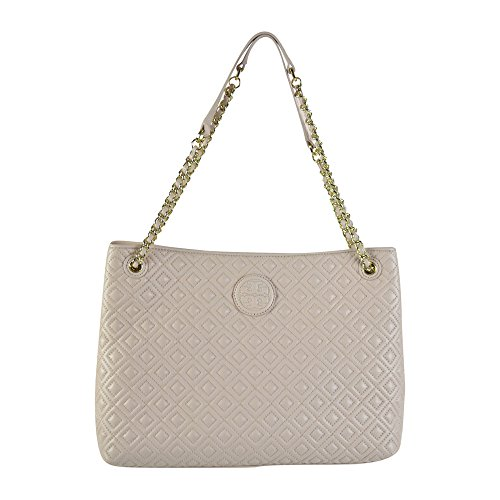 Tory Burch Marion Quilted Chain Shoulder Slouchy Tote Light Oak